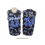 Camiseta Orlando Magic Shaquille O'Neal #32 Hardwood Classics Tear Up Pack Negro