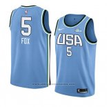 Camiseta 2019 Rising Star De'aaron Fox #5 World Azul