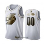 Camiseta Golden Edition Portland Trail Blazers Carmelo Anthony Blanco