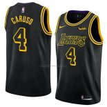 Camiseta Los Angeles Lakers Alex Caruso #4 Ciudad 2018 Negro