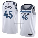 Camiseta Minnesota Timberwolves Cole Aldrich #45 Association 2018 Blanco