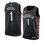 Camiseta Brooklyn Nets D'angelo Russell #1 Ciudad 2018-19 Negro