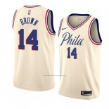 Camiseta Philadelphia 76ers Anthony Marron #14 Ciudad 2018 Crema