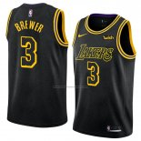 Camiseta Los Angeles Lakers Corey Brewer #3 Ciudad 2018 Negro