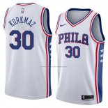 Camiseta Philadelphia 76ers Furkan Korkmaz #30 Association 2018 Blanco