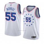 Camiseta Philadelphia 76ers Greg Monroe #55 Earned 2018-19 Blanco