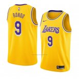 Camiseta Los Angeles Lakers Rajon Rondo #9 Icon 2018-19 Amarillo