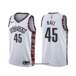 Camiseta Brooklyn Nets Donta Hall #45 Ciudad 2020 Blanco